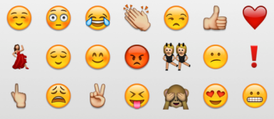 A grouping of various, different Emojis