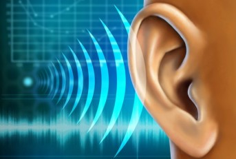 Sound waves projecting into an ear