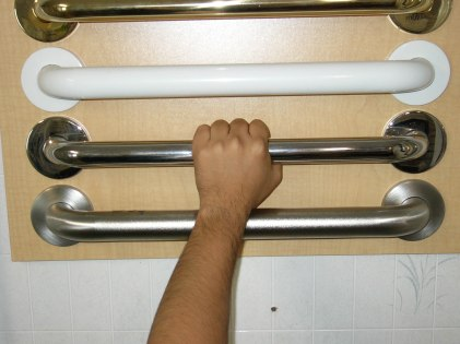 4 different color grab bars with arm and hand grasping one