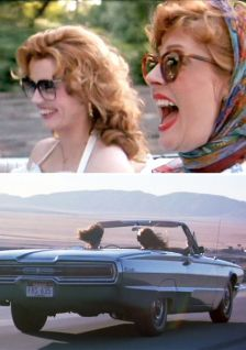 A close up of Thelma and Louise along with a shot of them in their convertible driving off into the sunset