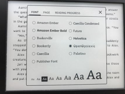 E-reader displaying a menu used to change the font of an e-book