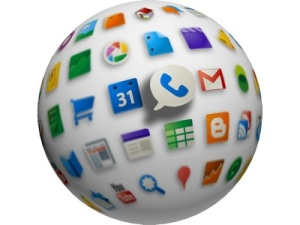 a ball covered in app icons
