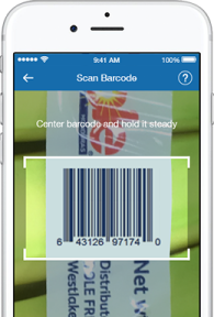 Sam's Club Scan & Go app scanning the bar code for a bunch of bananas.