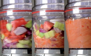 Food processor blending solid food into liquid