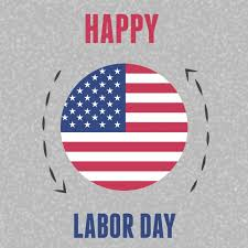 US Flag within a circle and the words Happy Labor Day