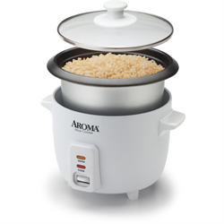 A rice cooker with inner pan and lid