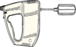 Graphic of a handheld mixer with beaters