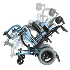 A manual wheelchair reclined back showing the various angles of the tilt in space feature