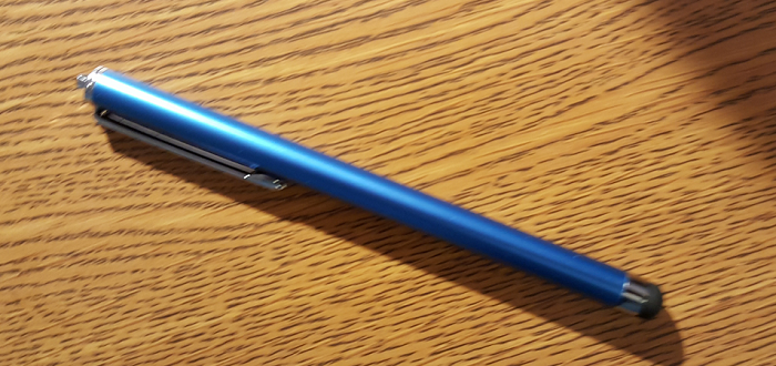 Blue Cheap Stylus against fake wood background