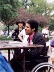 Al Swain at a picnic table