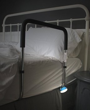 Bed rail with nightlight