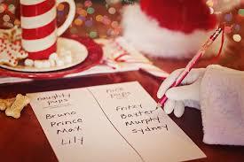 Santa's hand writing on naughty/nice list