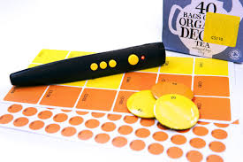 Pen friend RFID stickers showing large square stickers, small circles, and magnetic buttons