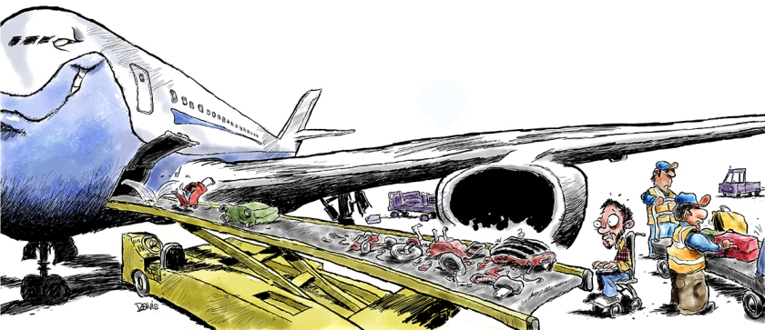 Cartoon of an airline conveyor belt delivering broken wheelchair parts to a wheelchair user
