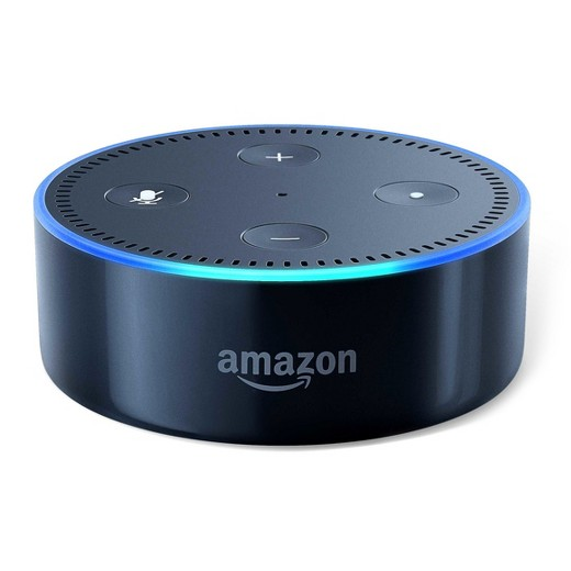 Echo Dot: A round device labeled Amazon, with a blue light around the edge showing that it is listening for user direction.